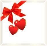 Valentinsgrußhintergrund mit rotem Geschenkbogen Lizenzfreie Stockbilder