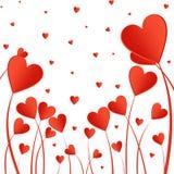 Valentinsgrußhintergrund mit roten Herzen auf einem Stiel auf einem weißen Hintergrund Gruß für Liebhaber und für Mutter ` s Tag lizenzfreie abbildung