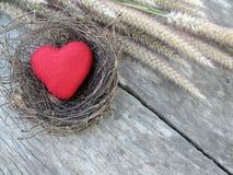 Valentinsgrußhintergrund, rotes Herz auf Vogelnest mit Gras Lizenzfreies Stockfoto