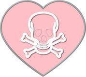Valentinsgrußinneres mit dem Schädel und den gekreuzten Knochen Stockfotografie