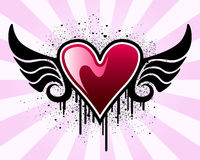 Valentinsgrußinneres mit Flügeln vektor abbildung