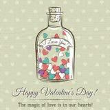 Valentinsgrußkarte mit dem Glas, das mit Herzen gefüllt wird und Wünsche simsen stock abbildung