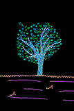 Valentinsgrußkarte mit gefilterter Zeichnung des Baums und der Herzen Lizenzfreies Stockfoto