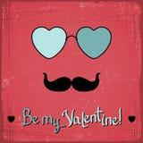 Valentinsgrußkarte mit Gläsern, Herzen und dem Schnurrbart lizenzfreie abbildung