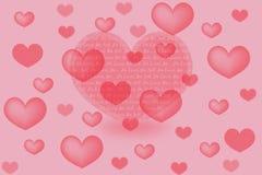 Valentinsgrußkarte mit Herzen Lizenzfreies Stockfoto