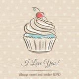 Valentinsgrußkarte mit kleinem Kuchen und Wünsche simsen, vector Lizenzfreies Stockfoto