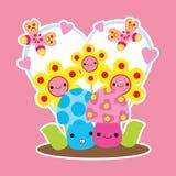 Valentinsgrußkarte mit netten Pilzen und Blumenkarikatur auf Liebesrahmen Stockfoto