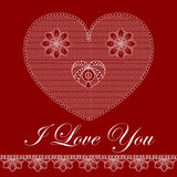 Valentinsgrußkarte mit Spitzeinnerem Stockbild