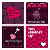 Valentinsgrußkarten Hand gezeichnete Auslegungelemente Stockfotografie