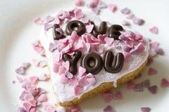 Valentinsgrußkuchen Stockfotografie