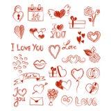 Valentinsgrußliebesskizzen auf weißem Hintergrund Stockfotografie