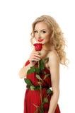 Valentinsgrußmädchen mit stieg Lizenzfreie Stockfotos