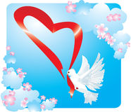 Valentinsgrußpostkarte mit Taube Stockbild