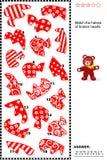 Valentinsgrußpuzzlespiel - bringen Sie die Hälften von defekten Herzen zusammen Lizenzfreies Stockbild