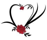 Valentinsgrußrahmen mit Rosen Stockfotos