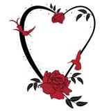 Valentinsgrußrahmen mit Rosen und Kolibri Lizenzfreie Stockfotos