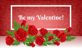 Valentinsgrußrahmen mit Rotrosenblume und -blatt Lizenzfreies Stockfoto