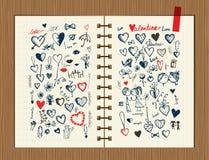 Valentinsgrußskizze auf Notizbuchblatt für Ihre Auslegung Lizenzfreie Stockbilder