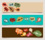 Valentinsgrußspracheblasenfahnenset Stockfoto