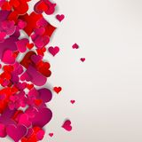 Valentinsgrußtag. Abstrakte Papierherzen. Liebe Stockfotografie