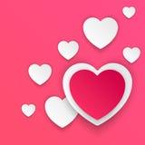 Valentinsgrußtag Herzen des roten und Weißbuches Stockbild