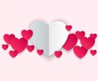 Valentinsgrußtag Herzen des roten und Weißbuches Lizenzfreies Stockfoto