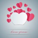 Valentinsgrußtag Herzen des roten und Weißbuches Stockfotos