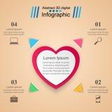 Valentinsgrußtag Herzen des roten und Weißbuches Abstrakte 3D digitale Illustration Infographic Lizenzfreie Stockfotografie