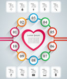 Valentinsgrußtag Herzen des roten und Weißbuches Abstrakte 3D digitale Illustration Infographic Stockbilder