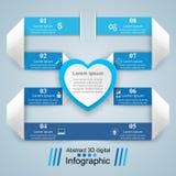 Valentinsgrußtag Herzen des roten und Weißbuches Abstrakte 3D digitale Illustration Infographic Lizenzfreies Stockfoto