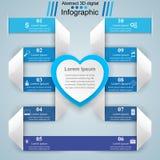 Valentinsgrußtag Herzen des roten und Weißbuches Abstrakte 3D digitale Illustration Infographic Stockfoto