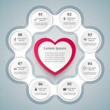 Valentinsgrußtag Herzen des roten und Weißbuches Abstrakte 3D digitale Illustration Infographic Lizenzfreie Stockbilder