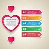 Valentinsgrußtag Herzen des roten und Weißbuches Abstrakte 3D digitale Illustration Infographic Stockbild
