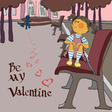 Valentinsgrußtag, Mädchen im Park Lizenzfreies Stockbild