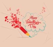 Valentinsgrußtag mit Bleistift-Zeichnungs-Blasenkarte Lizenzfreies Stockfoto