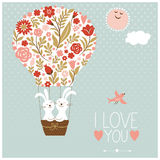 Valentinsgrußtages- oder -Hochzeitskarte Stockbild