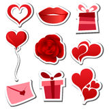 Valentinsgrußtagesaufkleberset Lizenzfreies Stockfoto
