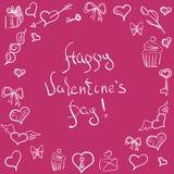 Valentinsgrußtagesaufwändiger Hintergrund Von Hand gezeichnetes Muster Stockfoto