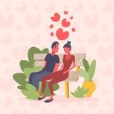 Valentinsgrußtagesfeiertag der Holzbank der Paare sitzender glücklicher die Konzeptmann-Frauenliebhaber feiernd, die über Herzen  lizenzfreie abbildung