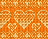 Valentinsgrußtagesgestricktes vektornahtloses Muster Lizenzfreie Stockfotografie