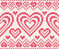 Valentinsgrußtagesgestricktes vektornahtloses Muster Lizenzfreies Stockbild
