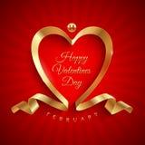 Valentinsgrußtagesgruß mit goldenem Farbband Stockfotografie