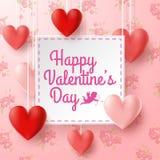 Valentinsgrußtagesgrußkarte mit Amor auf Blumenhintergrund stockfotografie