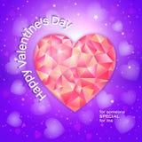 Valentinsgrußtagesgrußkarte mit niedrigem poligonal Herzen Lizenzfreies Stockfoto