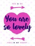 Valentinsgrußtagesgrußkarte mit Zeichen sind- Sie auf nettem Hintergrund so reizend stock abbildung