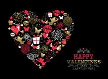 Valentinsgrußtagesgrußkarten-Weinleseikonenliebe stock abbildung