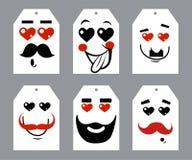 Valentinsgrußtagesherzen und -schnurrbärte Lizenzfreie Stockbilder