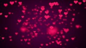 Valentinsgrußtagesherzfliegen Hintergrund geschlungenes Video stock abbildung