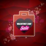 Valentinsgrußtagesherzformverkaufsaufkleber oder -aufkleber auf abstraktem rotem Hintergrund mit Unschärfe beleuchtet Vektorverka Stockfotografie