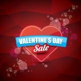 Valentinsgrußtagesherzformverkaufsaufkleber oder -aufkleber auf abstraktem rotem Hintergrund mit Unschärfe beleuchtet Vektorverka Stockbild